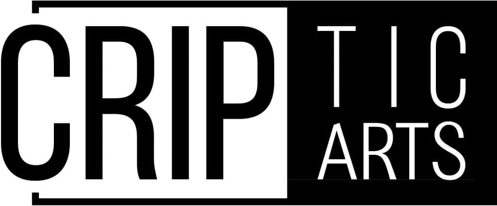 """CRIPtic Arts logo. All caps, CRIP is in black text on a white background, and twice the height of """"tic"""" and """"arts"""". They are in white on a black background, with the """"tic"""" above """"arts"""""""